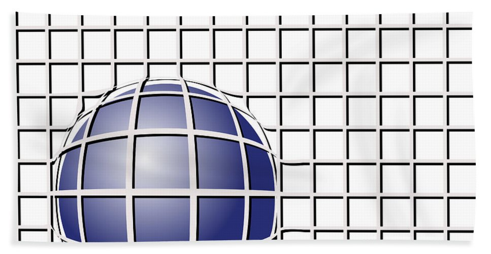 Vector Bath Sheet featuring the digital art Ball In The Net by Michal Boubin