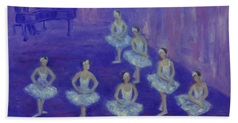 Figurative Bath Sheet featuring the painting Ballerina Rehearsal by Xueling Zou