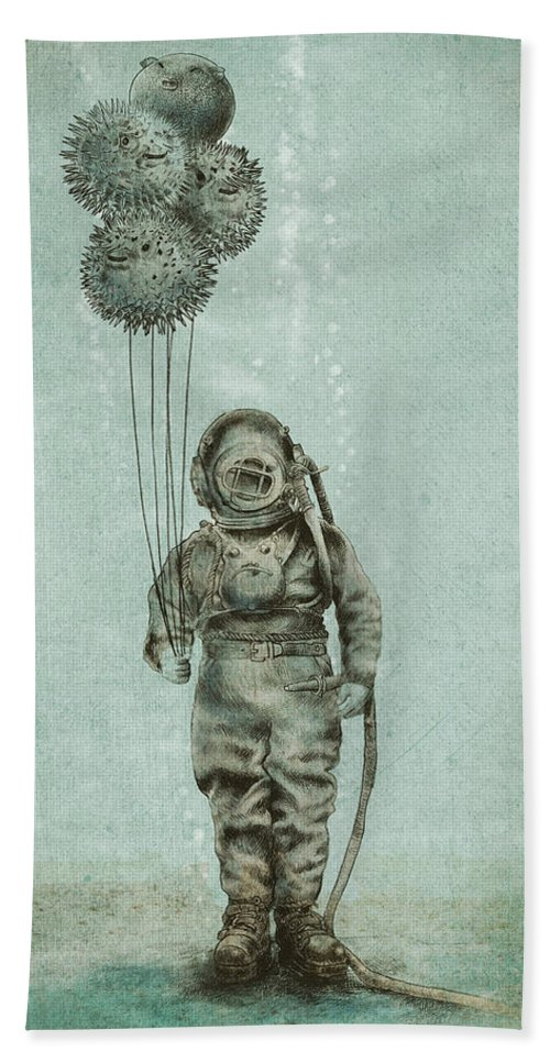 Ocean Bath Towel featuring the drawing Balloon Fish by Eric Fan