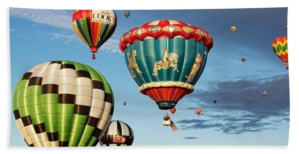 Balloons Hand Towel featuring the photograph Balloons Away by Dave Files