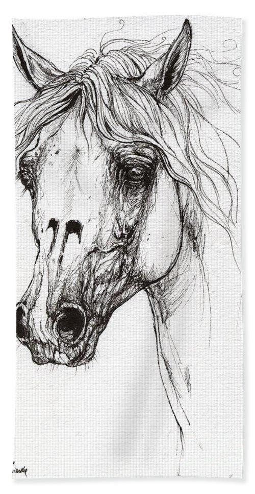 Horse Bath Sheet featuring the drawing Balon Polish Arabian Horse Portrait 2 by Angel Ciesniarska