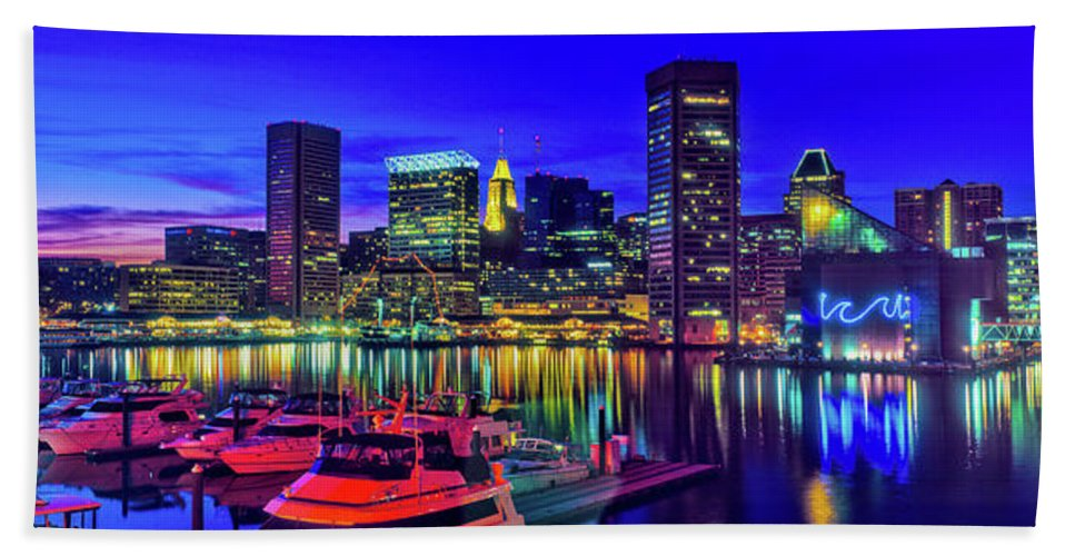 Photography Bath Sheet featuring the photograph Baltimore Harbor By Night, Baltimore by Panoramic Images