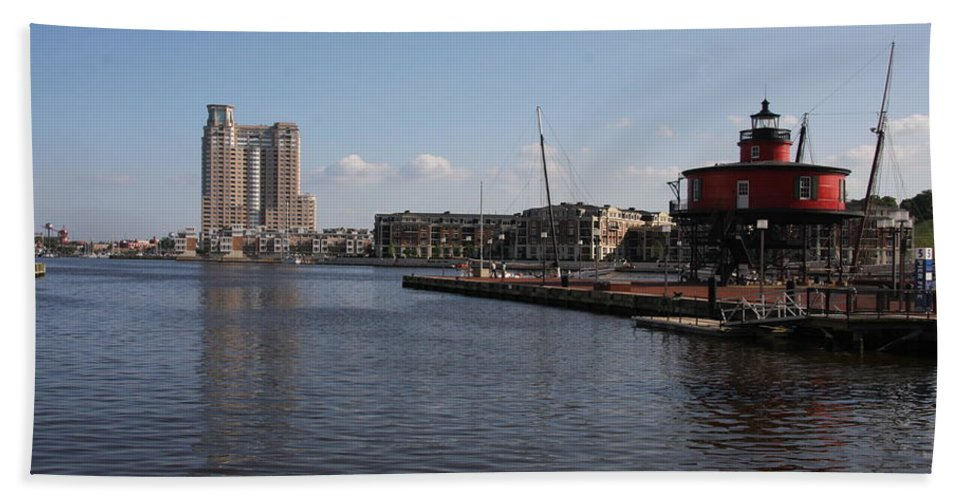 Harbor Hand Towel featuring the photograph Baltimore Harbor With Seven Foot Knoll Light by Christiane Schulze Art And Photography