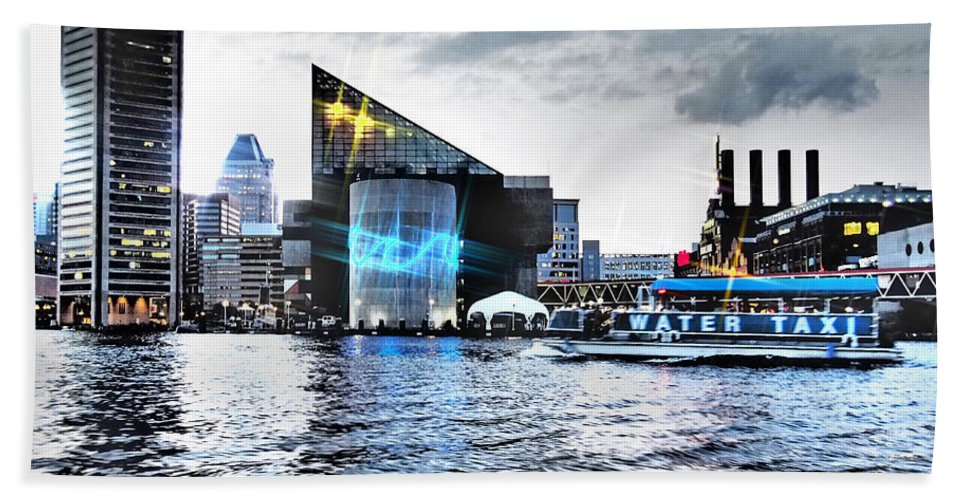 City Hand Towel featuring the photograph Baltimore - Harborplace - Inner Harbor At Night by Donna Haggerty