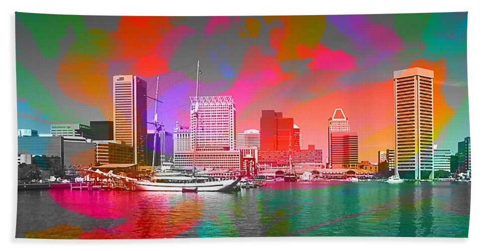 Baltimore Maryland Skyline Painting Hand Towel featuring the mixed media Baltimore Maryland Skyline by Marvin Blaine