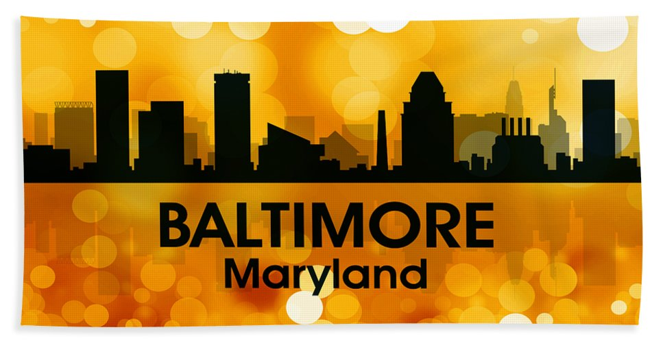 City Silhouette Hand Towel featuring the digital art Baltimore Md 3 by Angelina Vick