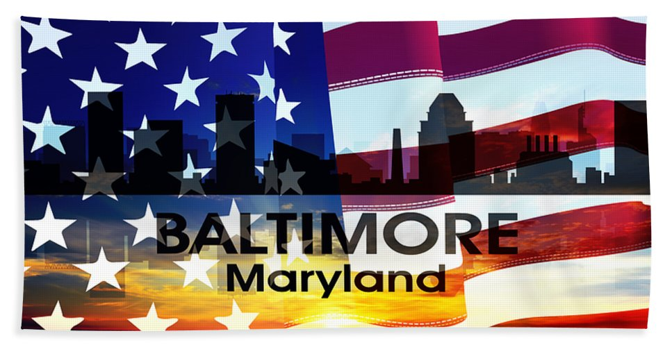 City Silhouette Bath Sheet featuring the digital art Baltimore Md Patriotic Large Cityscape by Angelina Vick
