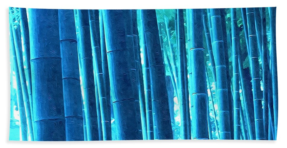 Art Of Bamboo Bath Sheet featuring the painting Bamboo 14 by Jeelan Clark