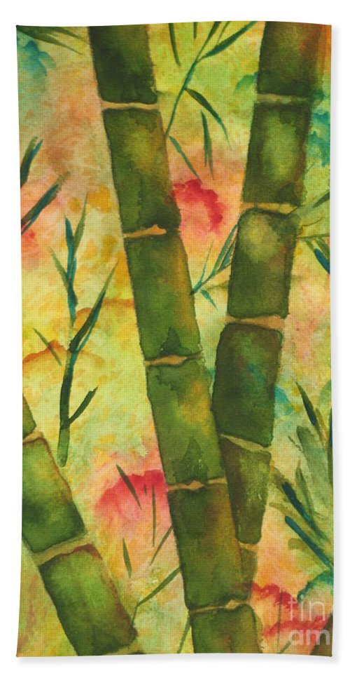 Fine Art Painting Bath Sheet featuring the painting Bamboo Garden by Chrisann Ellis