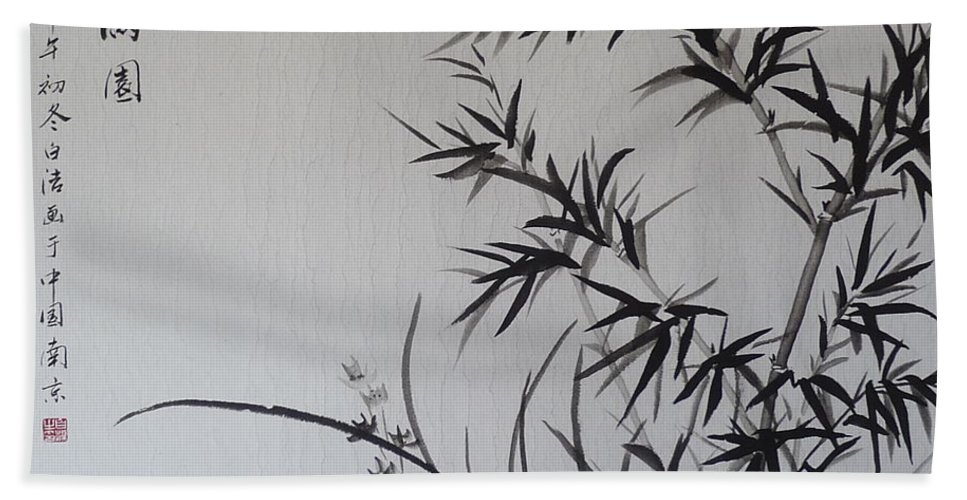 Bamboo Hand Towel featuring the painting Bamboo Impression by Birgit Moldenhauer