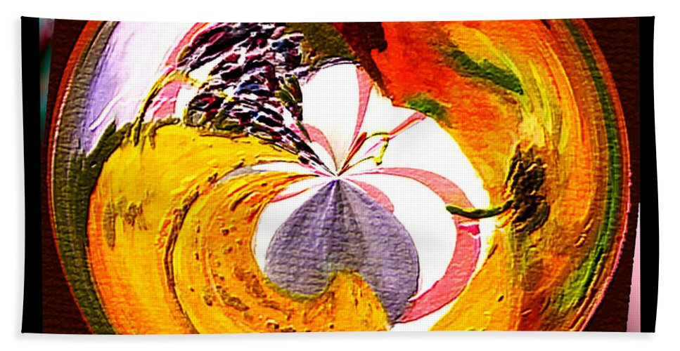 Paula Ayers Bath Sheet featuring the painting Banana Swirl by Paula Ayers