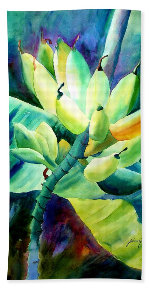 Watercolor Hand Towel featuring the painting Bananas 6-12-06 Julianne Felton by Julianne Felton
