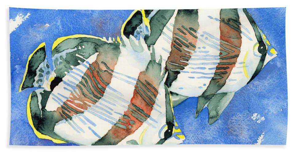 Butterflyfish Bath Sheet featuring the painting Banded Butterflyfish by Pauline Walsh Jacobson