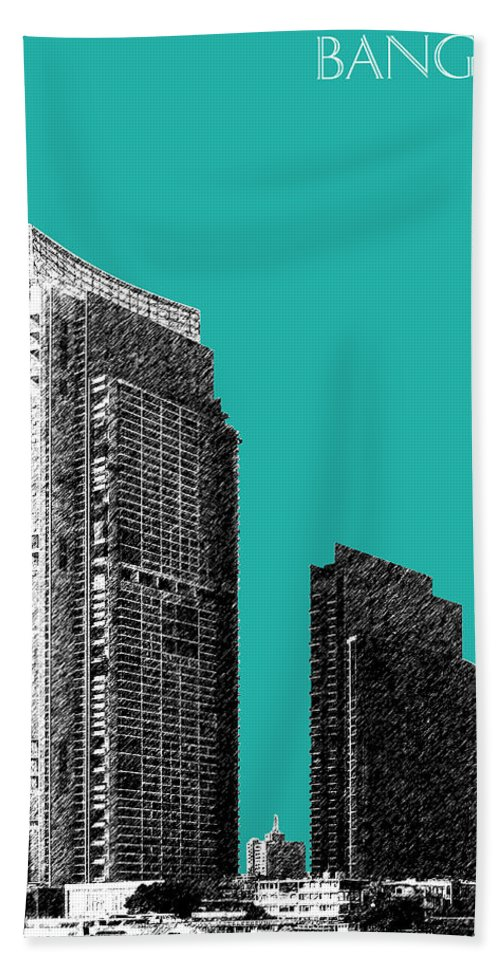 Architecture Hand Towel featuring the digital art Bangkok Thailand Skyline 3 - Teal by DB Artist