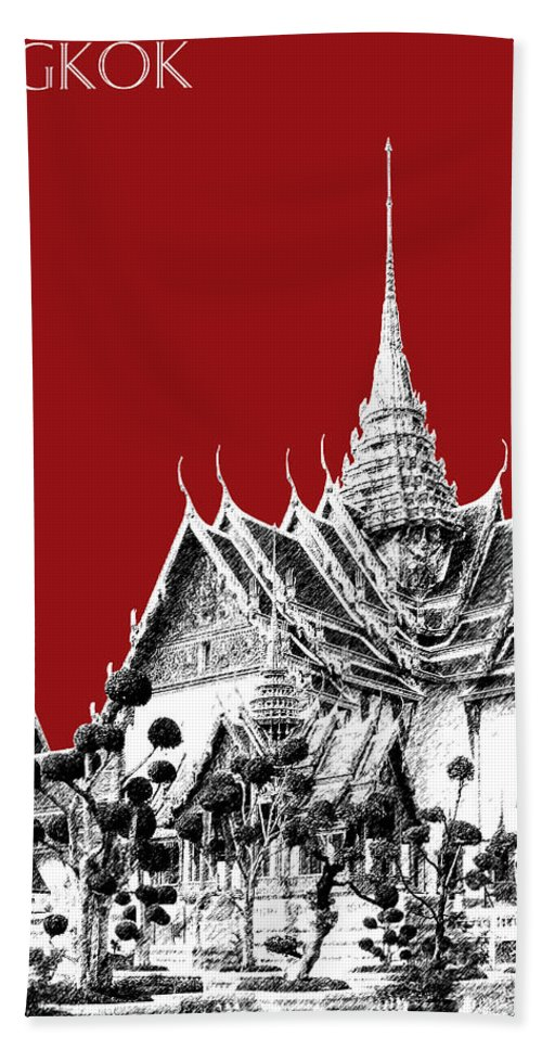 Architecture Hand Towel featuring the digital art Bangkok Thailand Skyline Grand Palace - Dark Red by DB Artist