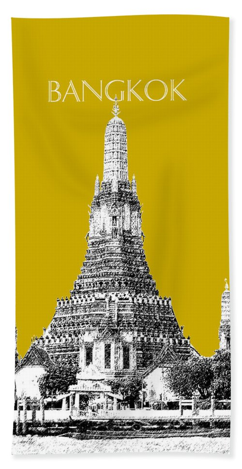 Architecture Hand Towel featuring the digital art Bangkok Thailand Skyline Wat Arun - Gold by DB Artist
