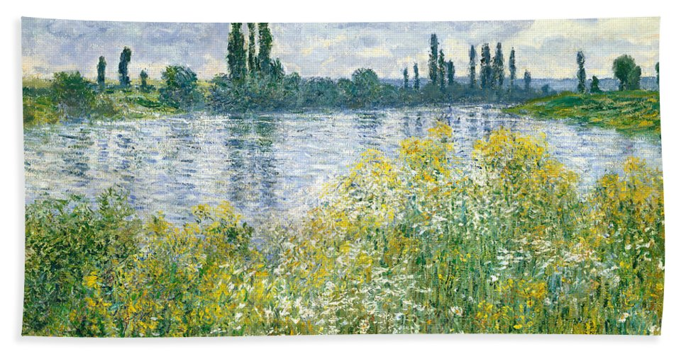 Landscape; River; Rural; Summer; Wild Flowers; Yellow; Reflection; Water; Blue Sky; Impressionist; French Bath Sheet featuring the painting Banks Of The Seine Vetheuil by Claude Monet