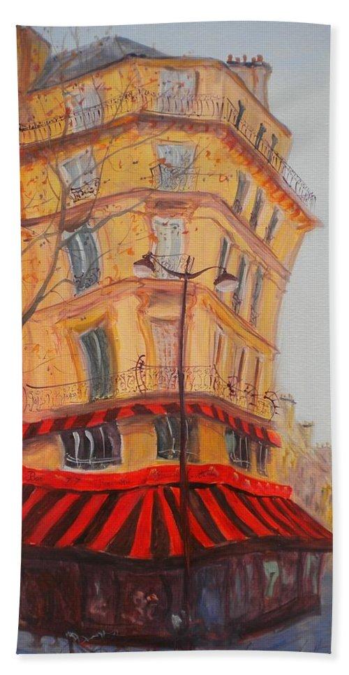 Facade Hand Towel featuring the photograph Bar 77, 2010 Oil On Canvas by Antonia Myatt