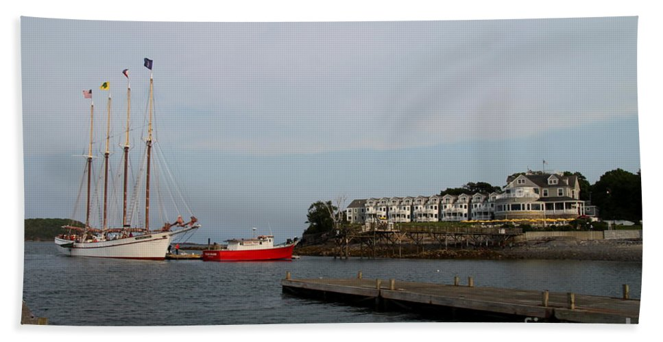 Schooner Hand Towel featuring the photograph Bar Harbor Scene Maine by Christiane Schulze Art And Photography