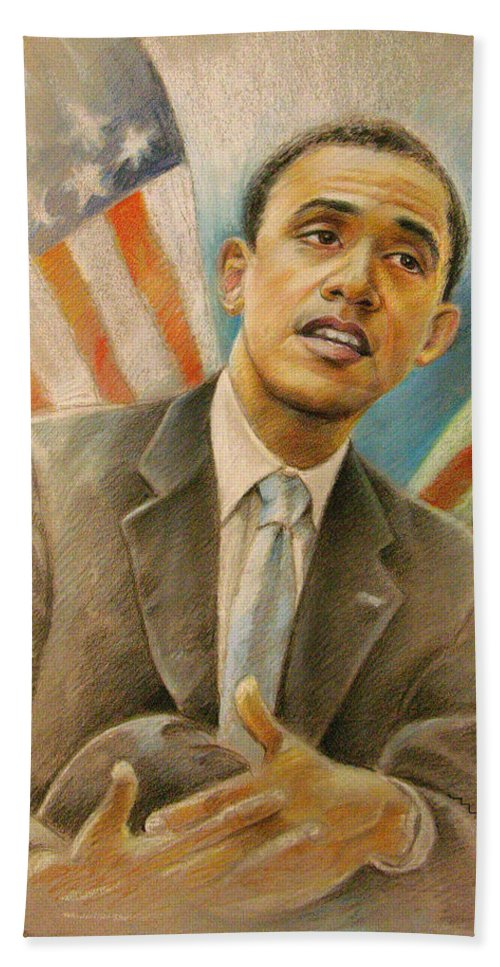 Barack Obama Portrait Hand Towel featuring the painting Barack Obama Taking It Easy by Miki De Goodaboom