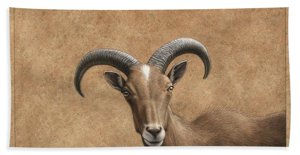 Barbary Ram Hand Towel featuring the painting Barbary Ram by James W Johnson