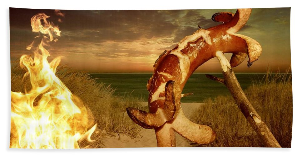 Fire Bath Sheet featuring the photograph Barbecue On The Beach by FL collection