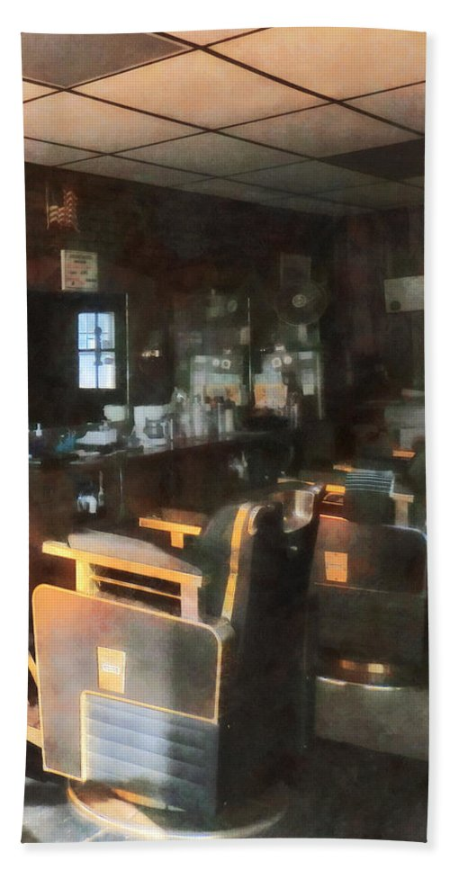 Barber Bath Sheet featuring the photograph Barber - Barber Shop With Sun Streaming Through Window by Susan Savad