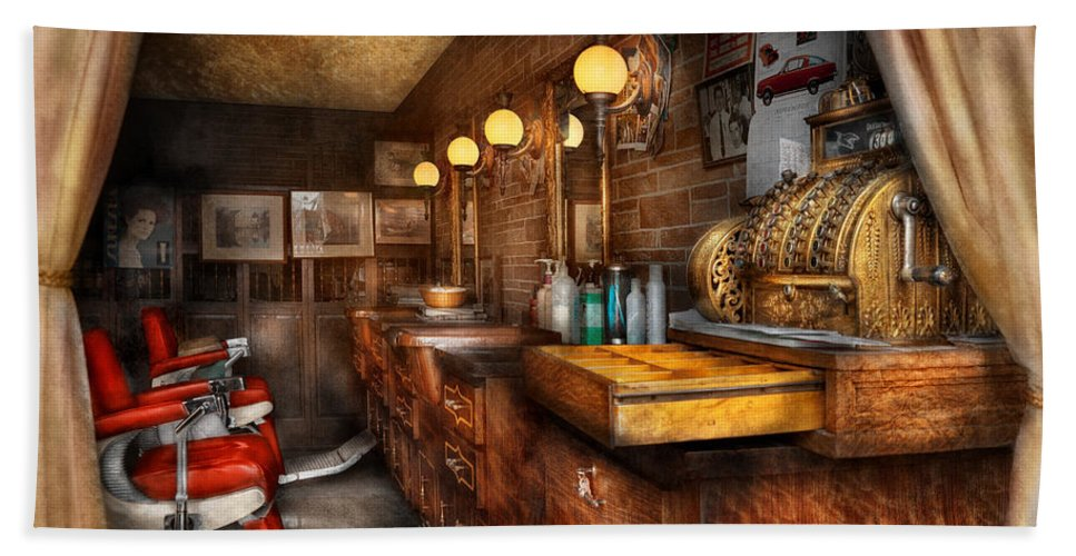 Barber Bath Towel featuring the photograph Barber - Closed On Sundays by Mike Savad