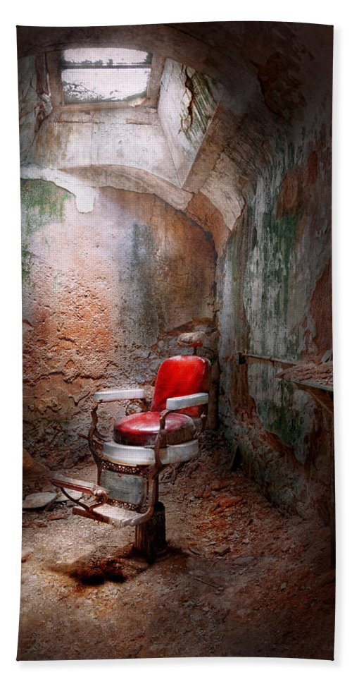 Jail Bath Sheet featuring the photograph Barber - Eastern State Penitentiary - Remembering My Last Haircut by Mike Savad