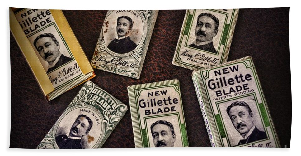 Paul Ward Hand Towel featuring the photograph Barber - Vintage Gillette Razor Blades by Paul Ward