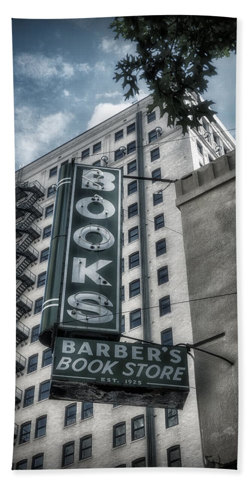 Joan Carroll Hand Towel featuring the photograph Barbers Book Store by Joan Carroll