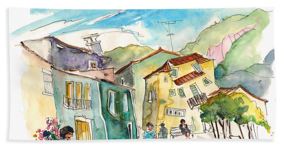Portugal Bath Sheet featuring the painting Barca De Alva Houses 01 by Miki De Goodaboom