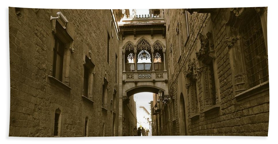 Archway Bath Sheet featuring the photograph Barcelona Backstreets by David Coleman