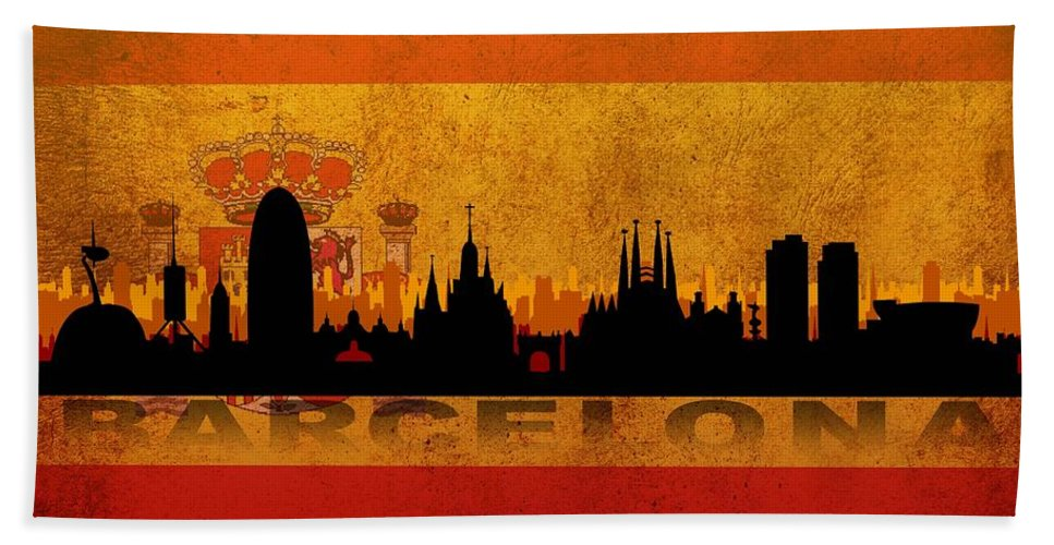 Architecture Hand Towel featuring the digital art Barcelona City by Don Kuing