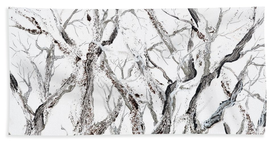 Trees Bath Sheet featuring the painting Bare Branches Print Option 2 by Regina Valluzzi