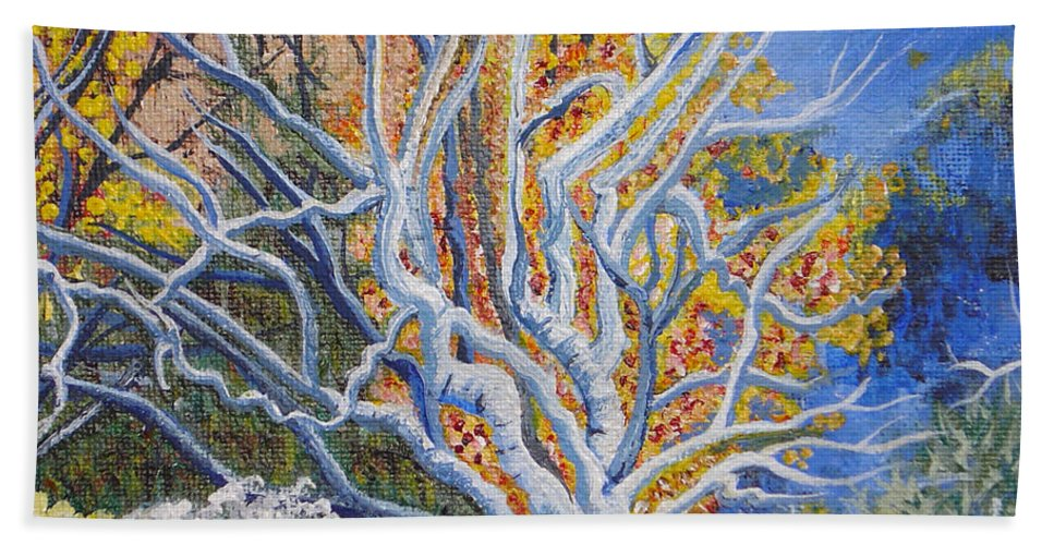 Bare Bush Hand Towel featuring the painting Bare Bush by Laura Wilson