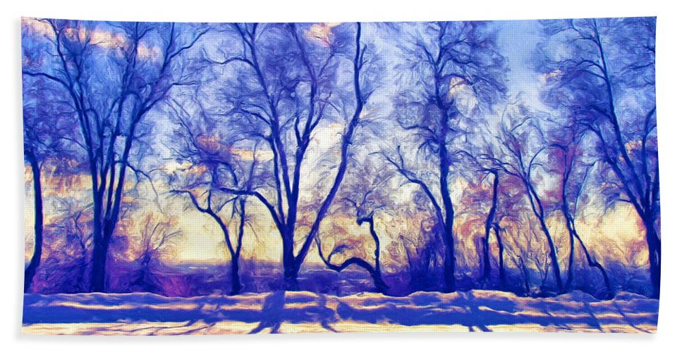 Bare Trees Hand Towel featuring the painting Bare Trees by Dominic Piperata