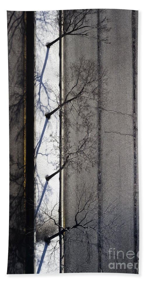 Road Hand Towel featuring the photograph Bare Trees by Margie Hurwich