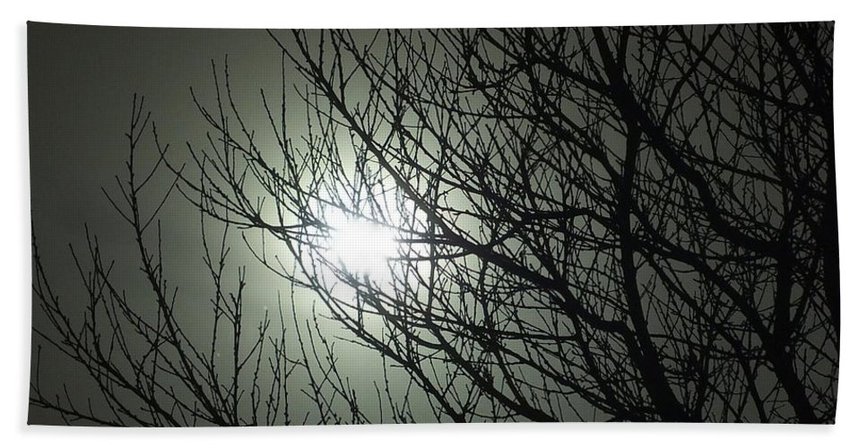 Tree Night Moon Wolf Werewolf Sky Branches Supernatural Lycanthrope Nature Bath Sheet featuring the photograph Bark At The Moon by Guy Pettingell