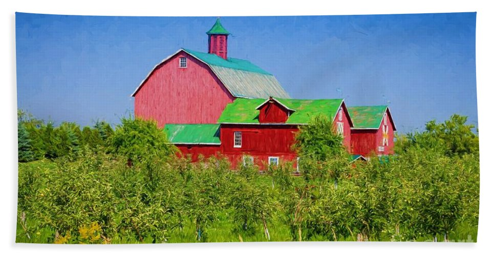 Apple Bath Sheet featuring the photograph Barn And Apple Orchard by Les Palenik