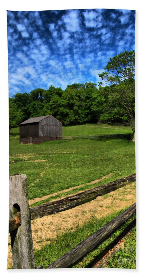 Allegheny County Hand Towel featuring the photograph Barn At Hartwood Acres Under Beautiful Sky by Amy Cicconi