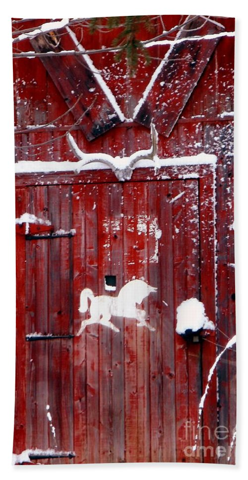 New York Bath Sheet featuring the photograph Barn Door In Winter by Christian Mattison