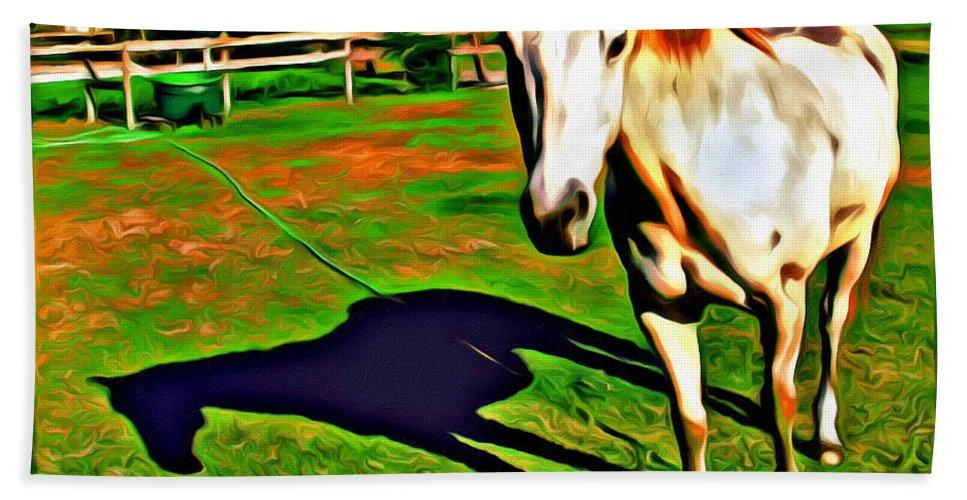 Horse Barn Reflection Bath Sheet featuring the photograph Barn Horse by Alice Gipson