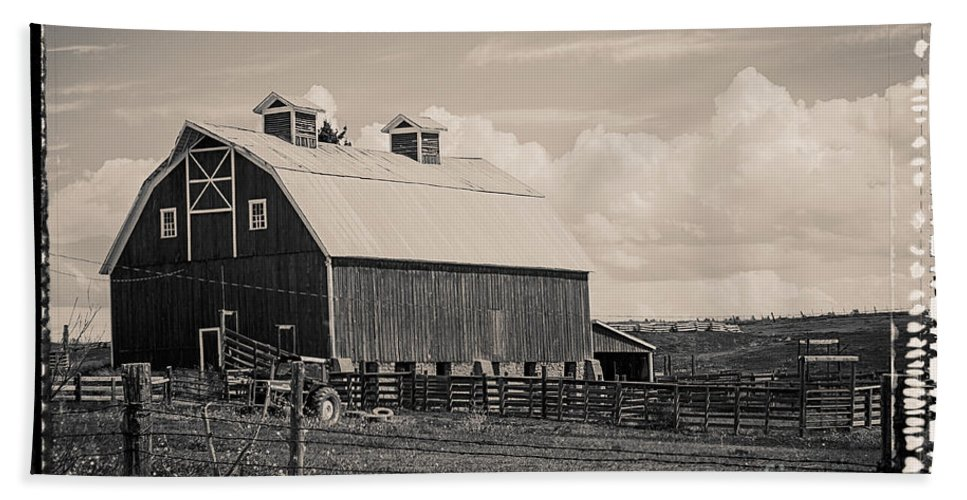 Barn Hand Towel featuring the photograph Barn In Polaroid by Janice Pariza