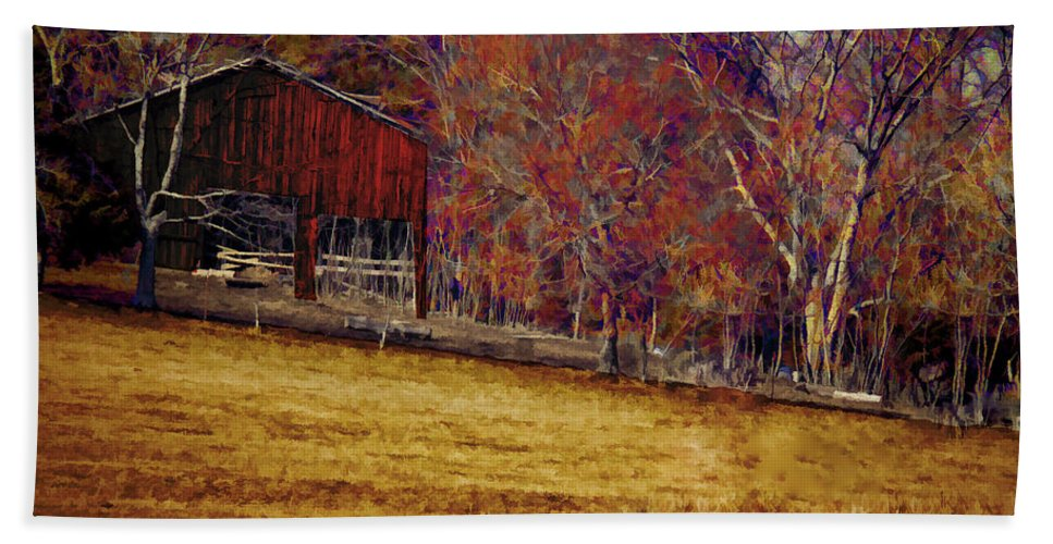 Erica Hand Towel featuring the photograph Barn In The Woods-featured In Barns Big And Small Group by Ericamaxine Price