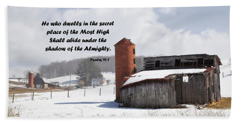 Barns Hand Towel featuring the photograph Barn In Winter With Psalm Scripture by Jill Lang