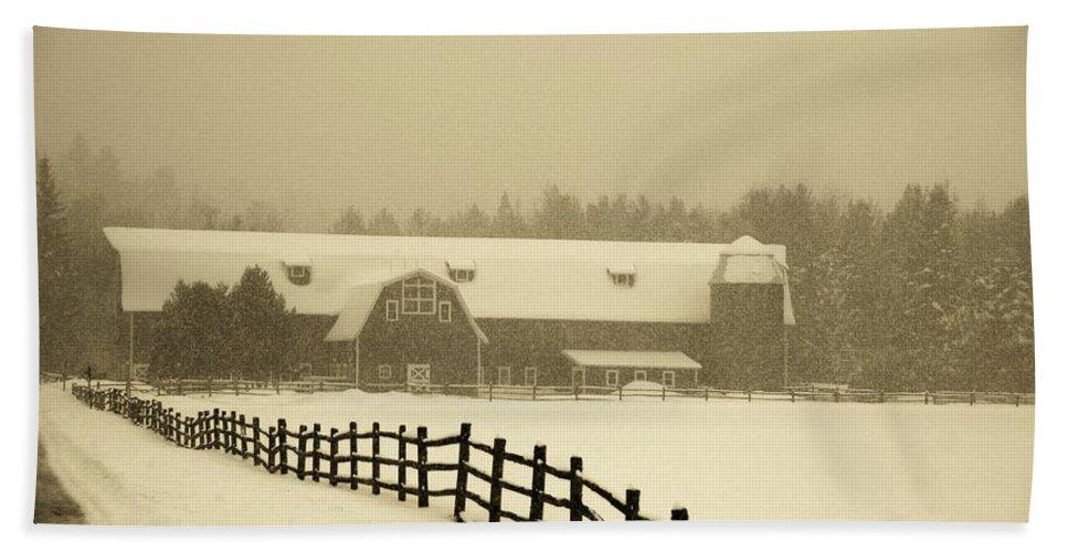 Farm Bath Sheet featuring the photograph Barn Lake Placid N Y by John Schneider