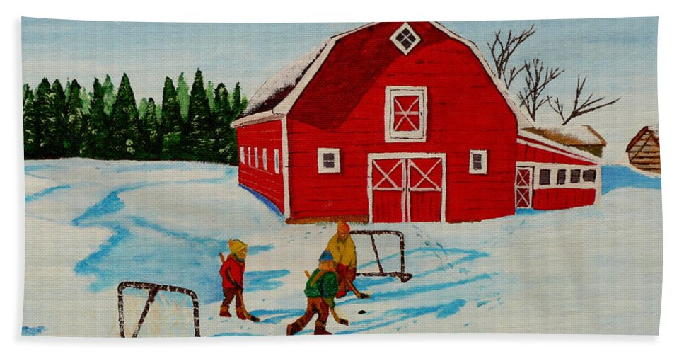 Hockey Hand Towel featuring the painting Barn Yard Hockey by Anthony Dunphy