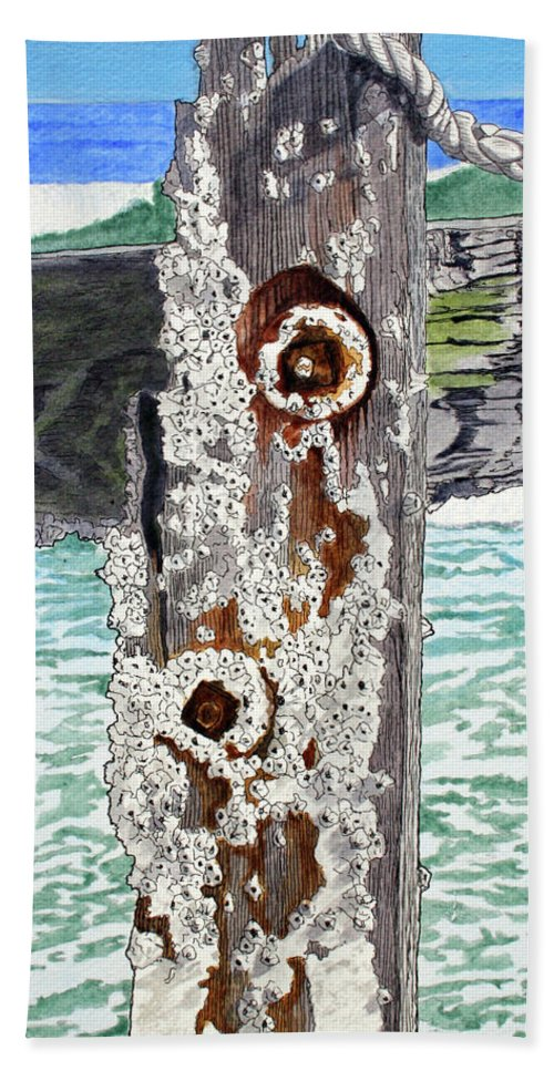 Barnacles Hand Towel featuring the painting Barnacles And Rust by Mike Robles