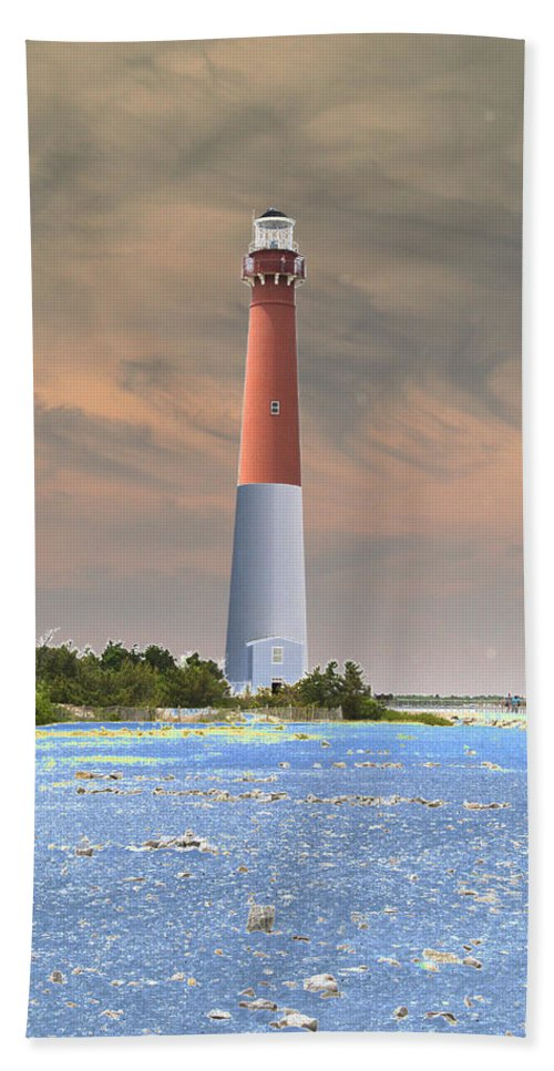 Lighthouse Bath Sheet featuring the photograph Barnegat Abstract by Christiane Schulze Art And Photography